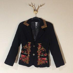 WE brand embroidered flower black blazer